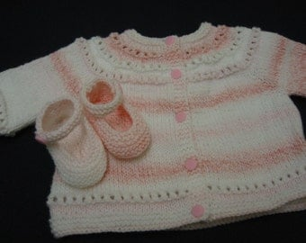 Baby Sweater Set, Hand Knitted Sweater Mary Jane Booties, Pink, 3-6 months, Baby Girl, Reborn Doll, Baby Shower Gift, Christening, Baptism