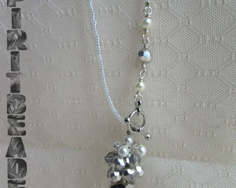 Pearl Crystal Cluster Silver Toggle beaded Necklace