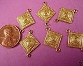 6 brass heraldic  art nouveau diamond shape  dapped connectors 16mm