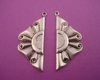 4 silver ox art Nouveau Curly Wavy Scroll Banner charms left and right 35mm