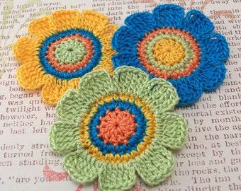 Crochet Flower Appliques|Yellow Green Blue| Set of 3