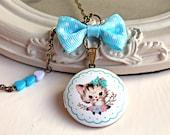 Kawaii kitten  locket necklace pastel blue cat cute