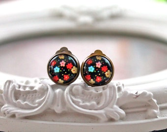 Pretty pop colorful flower  clip earrings sweet lolita feminine black