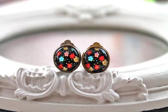 Pretty pop colorful flower  clip earrings sweet lolita feminine black