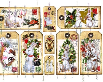 Bunny CHRISTMAS  DIGITAL Tags Rabbits Instant Download Printable bunnies Cardmaking Journal