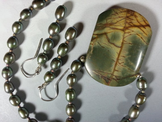 Beautiful Picasso Jasper Necklace and Earring Set with Pretty Olive Green Pearls