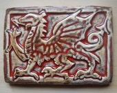 Handcarved Medieval Art Tile--Welsh Dragon CYRMU
