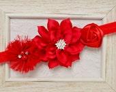 New! DIY Headband Set, 3pcs Handmade fabric flowers--red (FB1037)