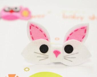 New! Set of 6pcs handmade felt bunny bows--white (FT1033)