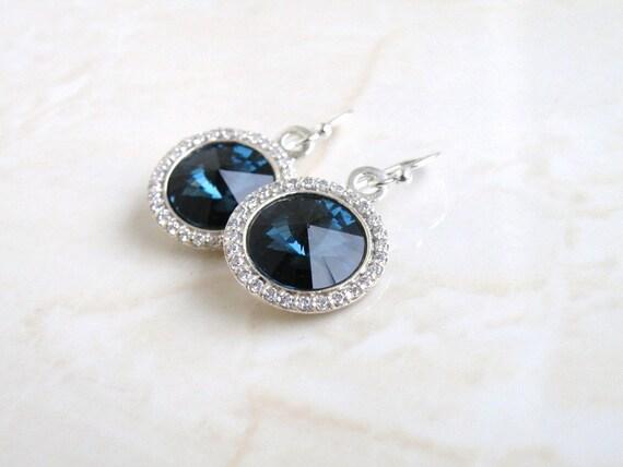 Sapphire Swarovski Crystal Earrings Montana Rivoli Silver CZ Halo BE16H-M