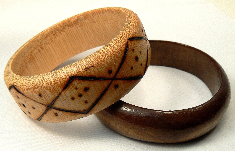 2 wood bangle bracelets vintage wood bangle by simplybetty