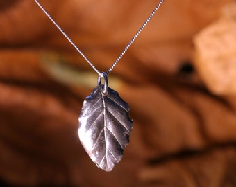 Solid Silver Beech Leaf Necklace - Made With A Real Leaf  And Totally Unique