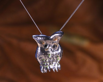 Super Cute Little Owl Necklace - Solid Silver And Enamelled.