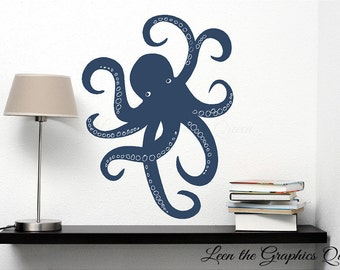 Octopus Wall Decal Nautical Decor Teen Childs Room Decor Vinyl Wall Decal - Removable Sticker Self Adhesive
