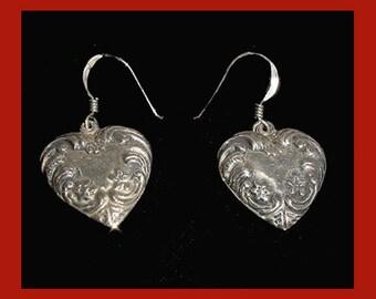 Sterling- Heart Shape Earrings..Great - Decorative Embossed Design