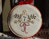 Hand Stitched Christmas Tree Ornament, Angel, Red Ribbon