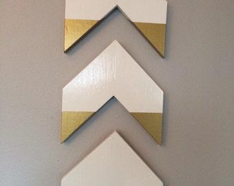 White & Gold Geometric Chevron Arrows Wall Art