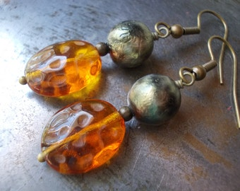 Earrings, golden honey dangle earrings, rustic fall autumn jewelry, handmade beaded glass bead brass drop earrings amber brown black bronze