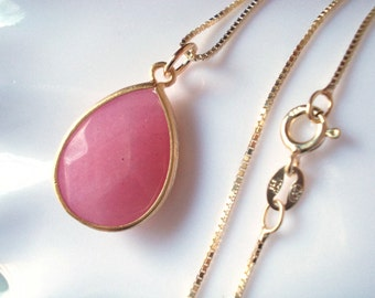 Rose quartz necklace, pink quartz stone charm necklace, gold plated, vermeil gold for women, gemstone pendant, stone pendent, gift for her