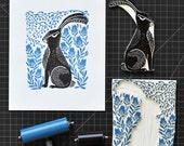 Hare - Original Block Print by Andrea Lauren
