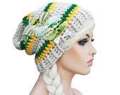 Oakland Athletics Baseball Inspired Beanie Slouch Beanie Green and Yellow Beanie