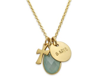 Gold Faith Necklace- charm necklace with gold cross and personalized name charm. Custom Jewelry. Hand Stamped Necklace by jenny present.