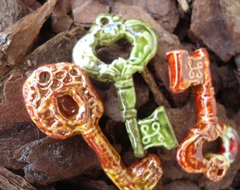 Set of 3 Stoneware Key Pendants