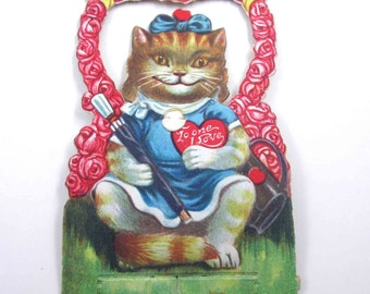 Vintage Antique German Mechanical Valentine Greeting Card Orange Tabby Cat with Blue Dress and Hair Bow Umbrella Purse Roses