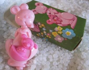 Vintage Avon pink Kangaroo with baby perfume pin pal Rock a roo