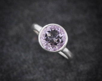 Lavender Amethyst Rock Fetish in Sterling Silver, Gemstone Ring, Silver Solitaire  Ready to Ship size 8.25