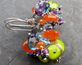 Gemstone earrings with artisan-made glass beads - sterling silver - bright colors - pear green - bright orange - purple turquoise - cluster
