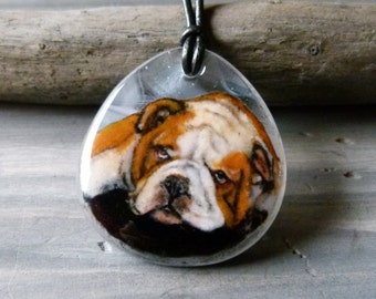 Bulldog necklace- fused glass pendant