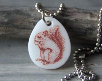 Cute squirrel - fused glass pendant