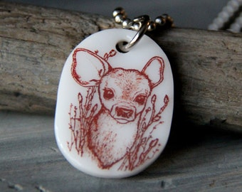 Fawn in the wood - fused glass pendant - bambi necklace