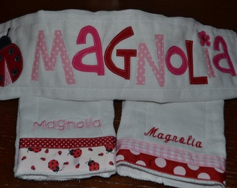 Great New Baby Gift... Set of 3 Personalized Burp Cloths for Baby Girl
