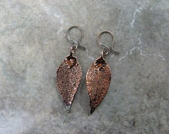 Real Leaf Earrings - Oxidized Sterling Silver - Evergreen