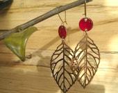 Burgundy Copper Leaf Dangle Earrings, Enamel Earrings, Drop Earrings, Chandelier Earrings Nickel free kidney ear w