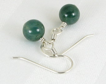 Bold Moss Agate and Sterling Silver Earrings