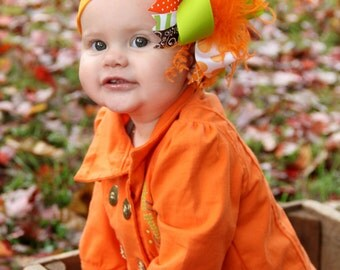 boutique ORANGE lime GREEN and BROWN over the top hair bow on a headband