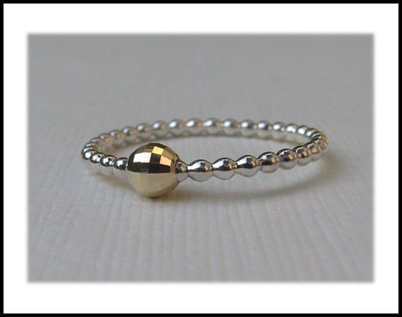 Silver and 14k Gold Bubble Ring