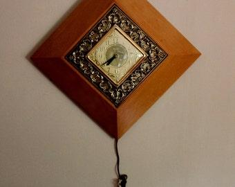 Lg Vintage Mid Century Diamond Shape Wood Wall Clock by United Clock 1955 Works Well