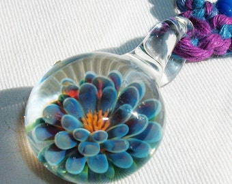 Purple Blue Lotus Flower - Lampwork Art Glass Flower Hemp V Necklace - Boro Pendant Macrame Hemp Jewelry  Blue Lotus Necklace - Glass Flower