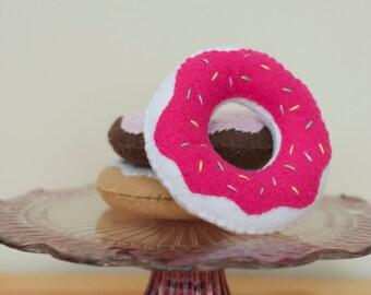 Felt Stuffed Donuts-  Set of 3