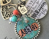 Sweet 16 keychain Never drive faster than your guardian angel can fly Birthday Gift friend gift CHEVRON typography coral mint green daughter