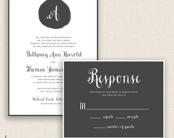 MODERN MONOGRAM - DIY Printable Wedding Set - Invitation and Reply Card