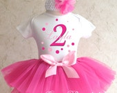 Polka Dots Pink Number Birthday Girl Party Tutu Outfit Dress Set Personalized Custom Name Age Shirt 1st 2nd 3rd 4th 5th 6th 7th