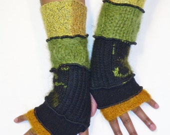 Fingerless Gloves, Arm Warmers, Green, Gold and Black (Gold Mohair, Black, Black/Green Patched, Apple Green Mohair, Gold Patched)