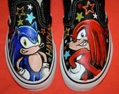 Boy's Custom Painted SONIC the HEDGEHOG Inspired VANS Shoes Any Size