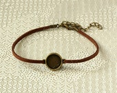 bracelets / Choker / necklace kits - brown velvet cord, antique bronze finish base bezel tray setting, clasps and extention chain. B01F