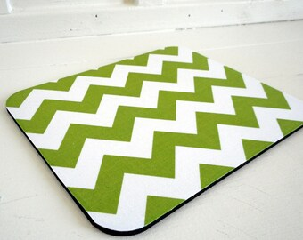 fabric mousepad / mouse mat / green chevron